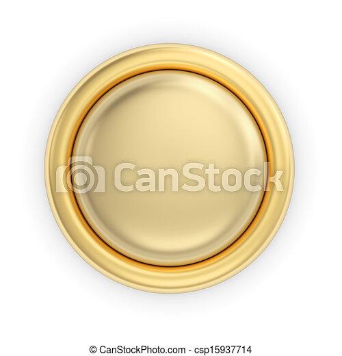 Golden button on white - csp15937714