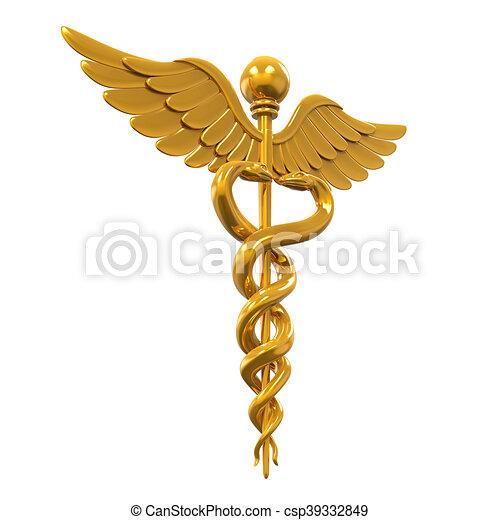 Golden Caduceus Medical Symbol - csp39332849