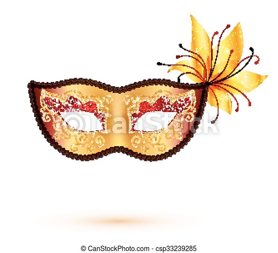 Golden carnival mask isolated on white background - csp33239285