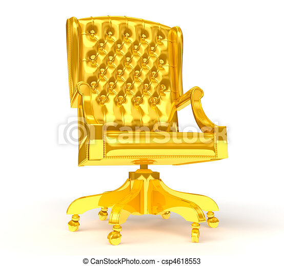 Attrayant Golden Chair Isolated On White   Csp4618553