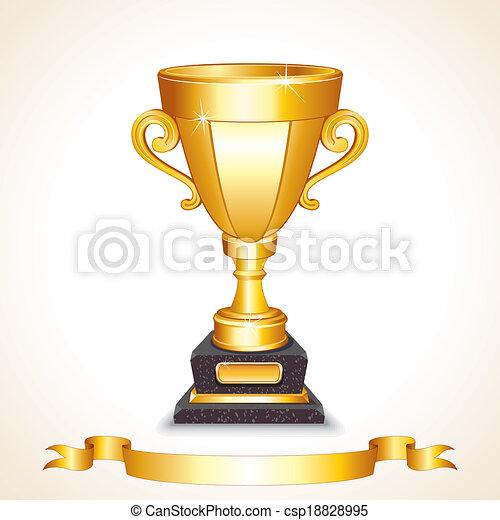 Golden Champions Trophy Cup. Vector Image - csp18828995