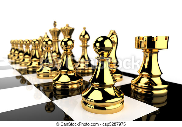 Golden Chess pieces  - csp5287975