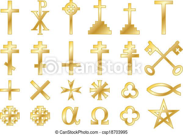 Golden Christian Religious Symbols Christian Religious Symbols With