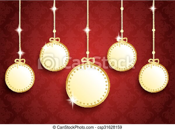 Golden christmas empty circles red ornaments golden christmas