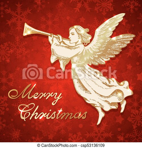 Christmas Trumpet Images.Golden Christmas Angel With Trumpet