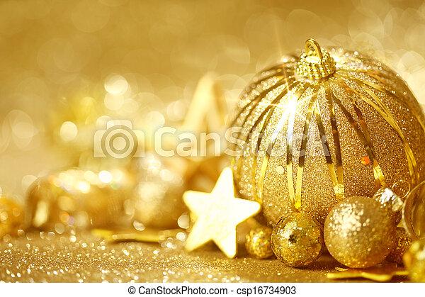 Golden Christmas background - csp16734903