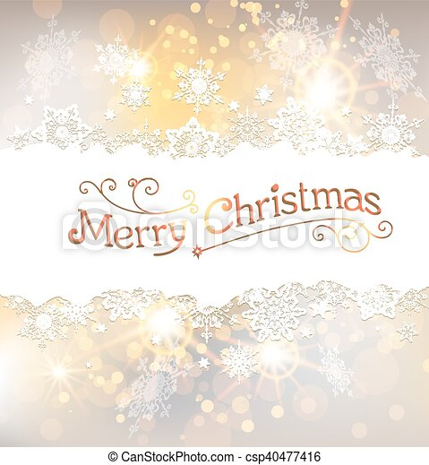 Golden Christmas background with snowflakes - csp40477416