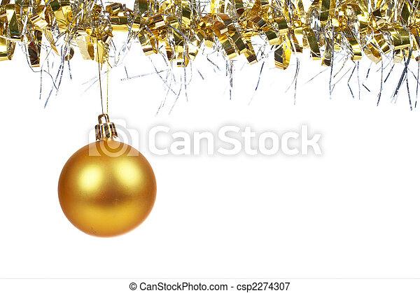 Golden Christmas ball dangling - csp2274307