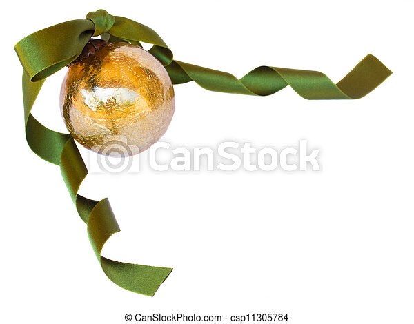 Golden Christmas ball with green ribbon - csp11305784
