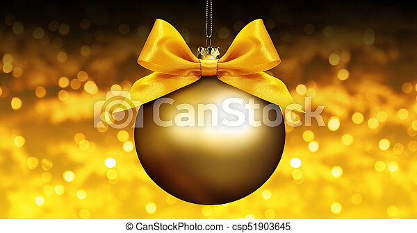 golden christmas ball with ribbon bow on golden blurred lights background - csp51903645