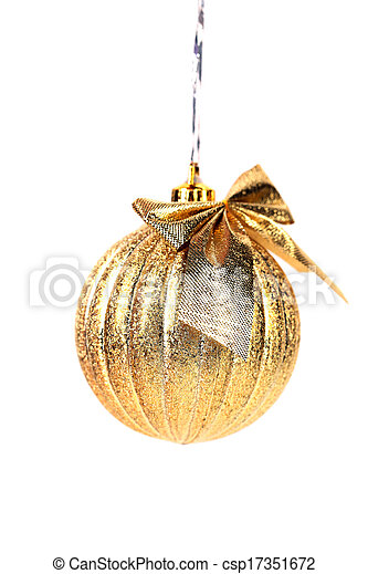 Golden christmas ball with ribbon. - csp17351672