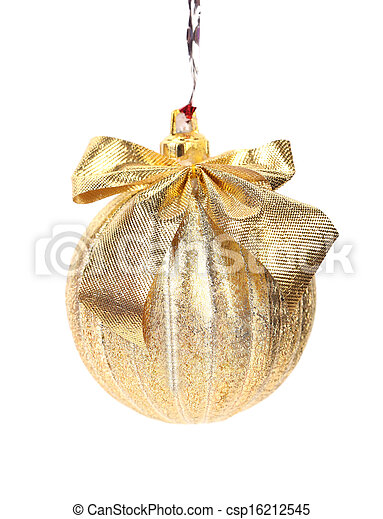 Golden christmas ball with ribbon. - csp16212545