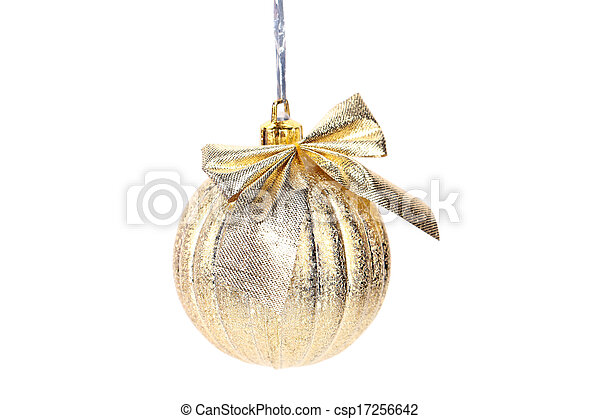 Golden christmas ball with ribbon. - csp17256642