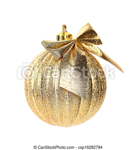 Golden christmas ball with ribbon. - csp16282794