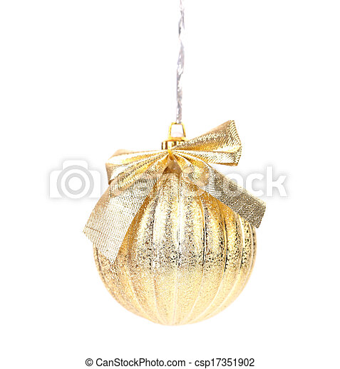 Golden christmas ball with ribbon. - csp17351902