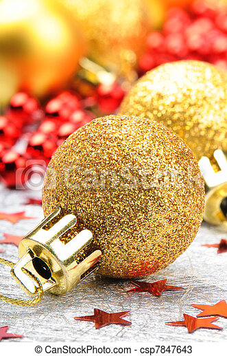 Golden Christmas balls - csp7847643