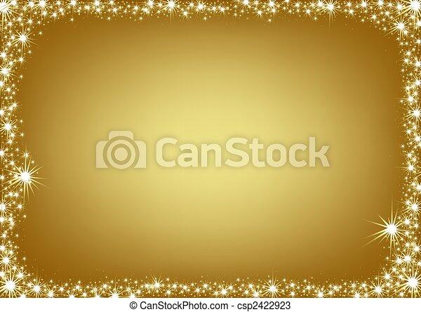 Golden Christmas Frame - csp2422923