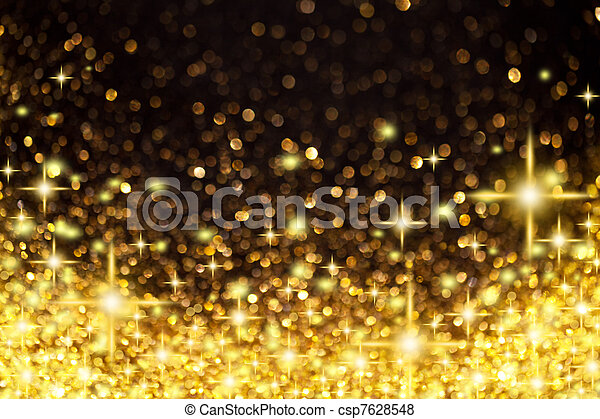 Golden Christmas Lights and Stars Background - csp7628548