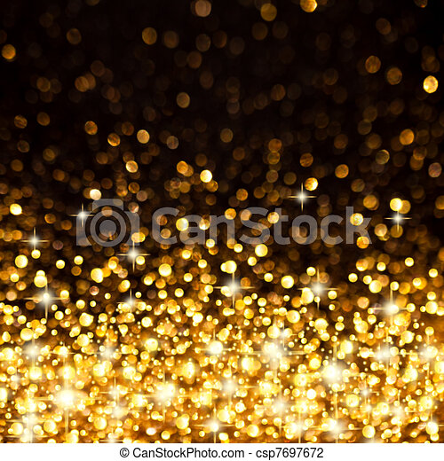 Golden Christmas Lights Background - csp7697672
