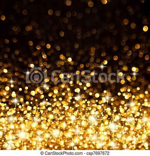Golden Christmas Lights Background - csp7697672