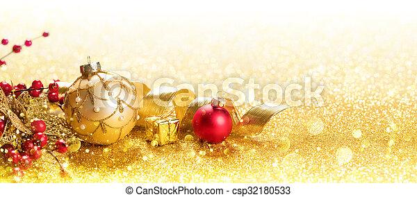 Golden Christmas Ornament - csp32180533