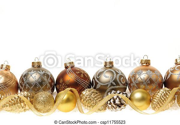 golden christmas ornaments border csp11755523