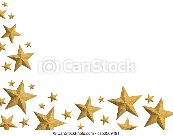 Golden Christmas stars stream - isolated - csp0589491