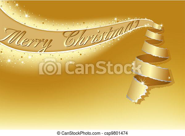 Golden Christmas Tree - csp9801474