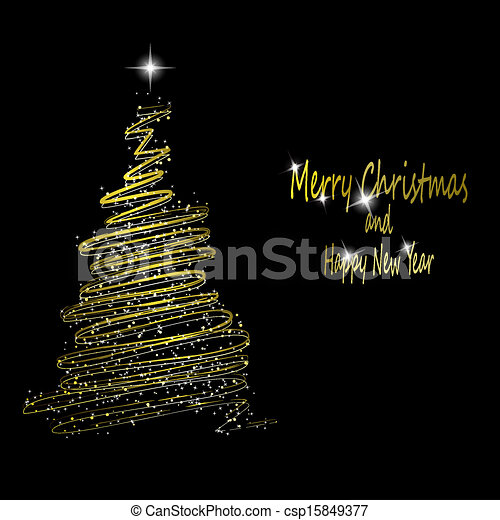 Golden Christmas Tree Made From Gold Ribbons And Stars On Black Background Vector Eps10