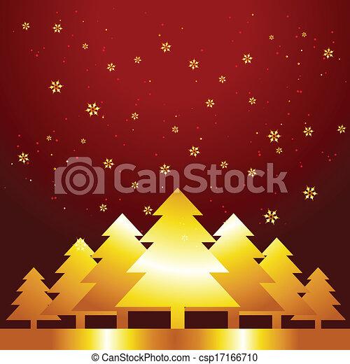 golden christmas tree - csp17166710