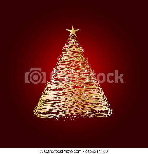 Golden christmas tree - csp2314180
