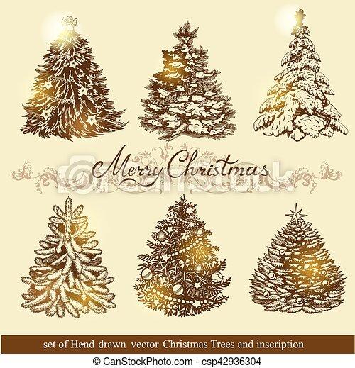 Golden Christmas trees. - csp42936304
