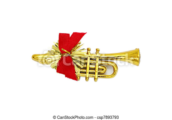 golden christmas trumpet and red ribbon on a white background rh canstockphoto com Christmas Ornament Clip Art Christmas Horn Clip Art