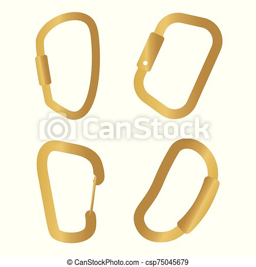 Golden Climbing Carabiner Icon Vector Illustration