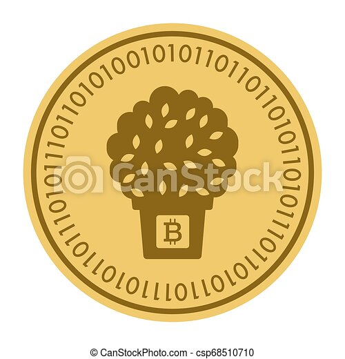 Golden coin with a tree in a pot sign. Money and finance symbol Cryptocurrency. Vector Illustration isolated on white background. Cryptography - csp68510710
