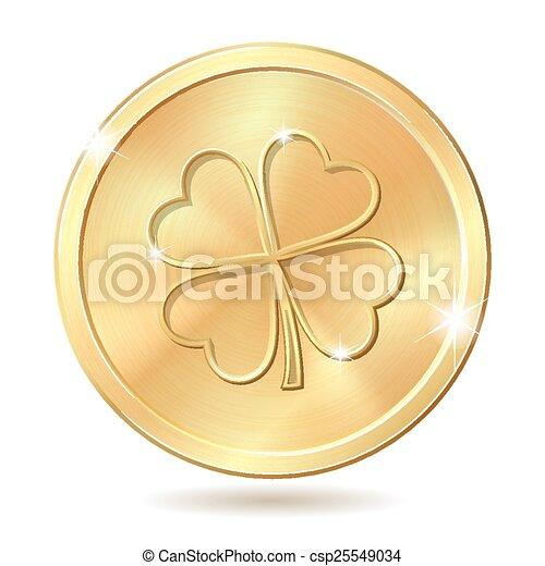 Golden coin with clover. - csp25549034