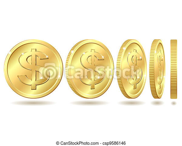golden coin with dollar sign - csp9586146