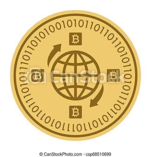 Golden coin with globe sign. Money and finance symbol Cryptocurrency. Vector Illustration isolated on white background. Gold coin with Bitcoin symbol cryptocurrency. Cryptography - csp68510699