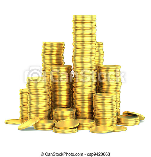 golden coins isolated - csp9420663