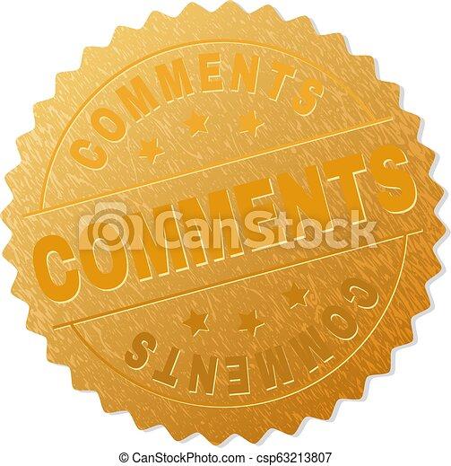 Golden COMMENTS Badge Stamp - csp63213807