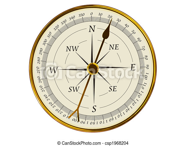 Golden Compass Top View 3d Rendering Of Magnetic Compass On White