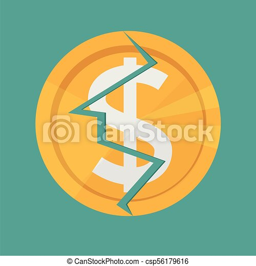 Golden Cracked Dollar Coin American Money Currency Symbol The