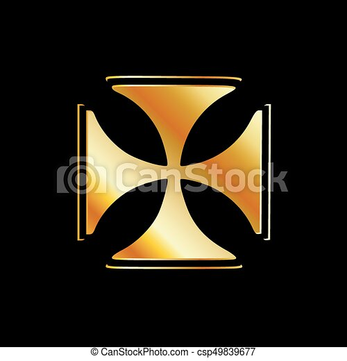Golden cross pattee symbol on black- symbol of Christianity - csp49839677