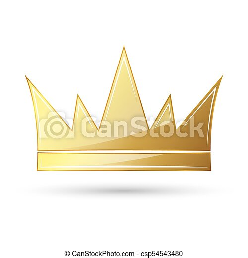 Golden Crown Icon Vector Illustration Golden Crown Symbol Isolated