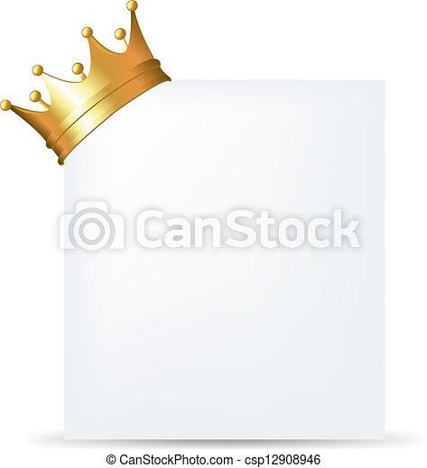 Golden Crown On Blank Card - csp12908946