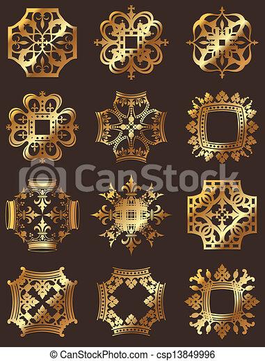 Golden Crown Symbols - csp13849996