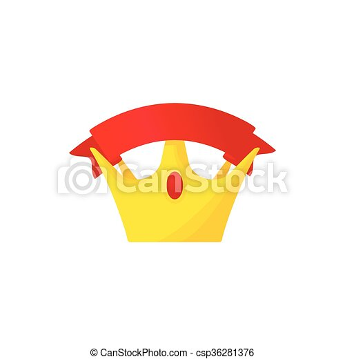 Golden crown with red riibbon icon, cartoon style - csp36281376