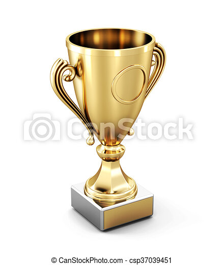 Golden Cup isolated on white background. 3d rendering - csp37039451