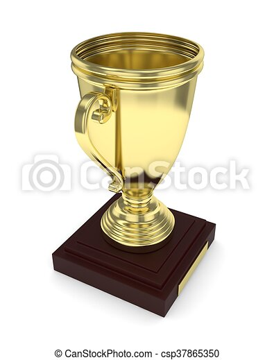 Golden cup on white. 3D rendering. - csp37865350