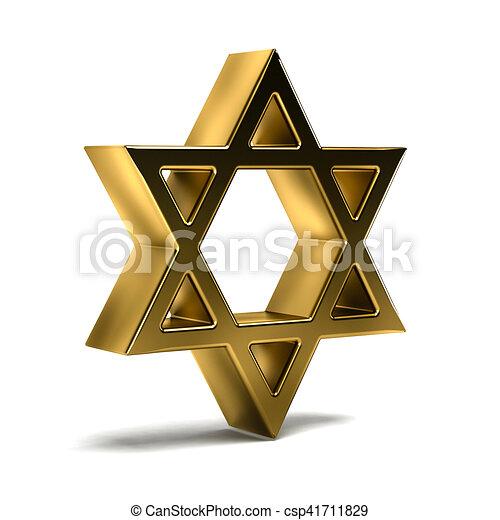 Golden David Star Judaism Symbol 3d Rendering Illustration Clip